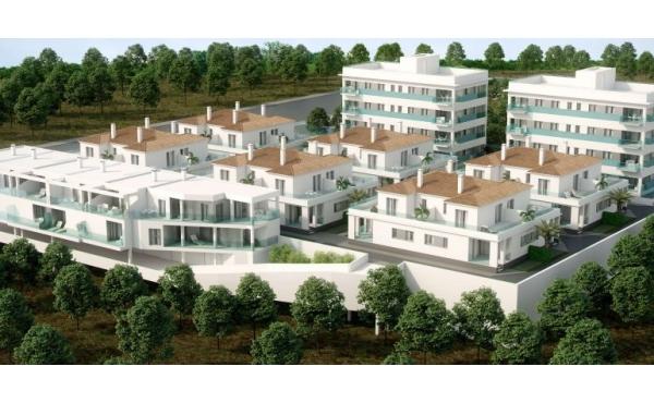Hörn hus i 2 våningar, med trädgård, terrass och takterrass
