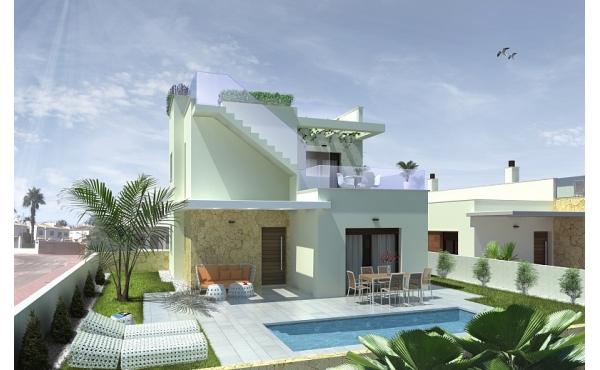Modern 2 sovrum villa med pool och takterrass